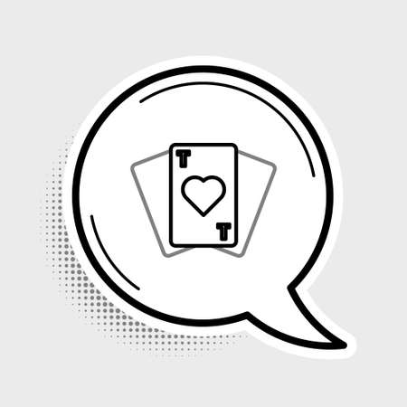 Line Playing cards icon isolated on grey background. Casino gambling. Colorful outline concept. Vector