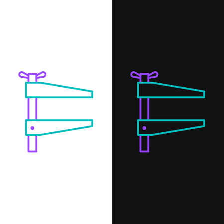 Line Clamp tool icon isolated on white and black background. Locksmith tool. Colorful outline concept. Vector