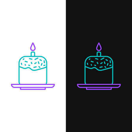 Line Easter cake and candle icon isolated on white and black background. Happy Easter. Colorful outline concept. Vector Ilustracja