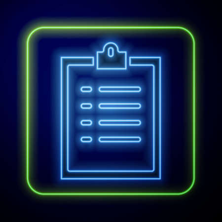 Glowing neon Clipboard with checklist icon isolated on blue background. Control list symbol. Survey poll or questionnaire feedback form. Vector Illustration