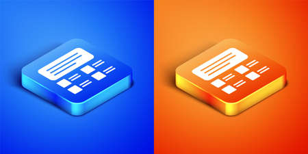 Isometric Online quiz, test, survey or checklist icon isolated on blue and orange background. Exam list. E-education concept. Square button. Vector Illustration