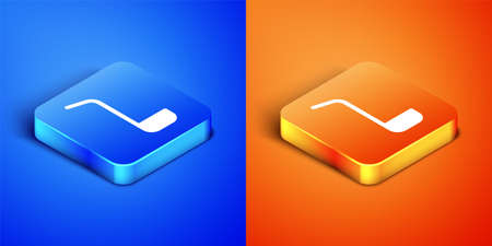 Isometric Kitchen ladle icon isolated on blue and orange background. Cooking utensil. Cutlery spoon sign. Square button. Vector