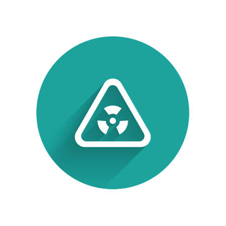 White Triangle sign with radiation symbol icon isolated with long shadow. Green circle button. Vector