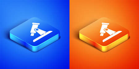 Isometric Telescope icon isolated on blue and orange background. Scientific tool. Education and astronomy element, spyglass and study stars. Square button. Vector