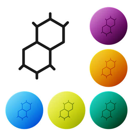 Black Chemical formula icon isolated on white background. Abstract hexagon for innovation medicine, health, research and science. Set icons in color circle buttons. Vector Ilustrace