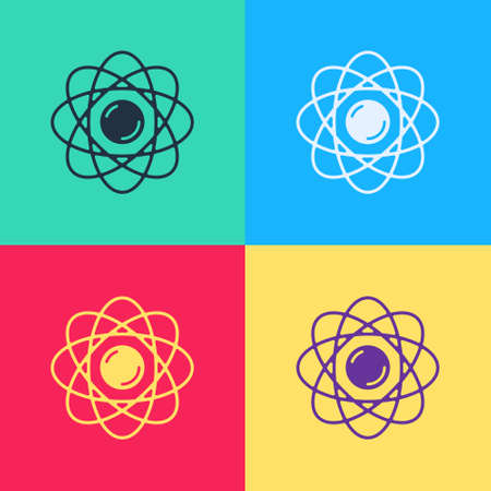 Pop art Atom icon isolated on color background. Symbol of science, education, nuclear physics, scientific research. Vector Ilustrace