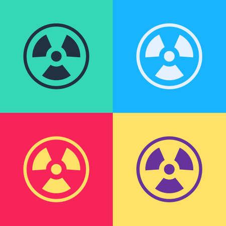 Pop art Radioactive icon isolated on color background. Radioactive toxic symbol. Radiation Hazard sign. Vector