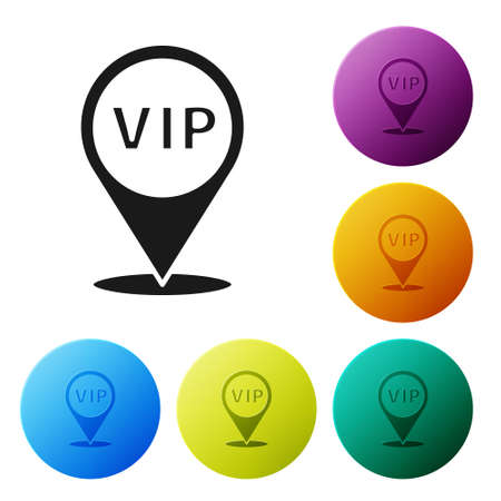 Black Location Vip icon isolated on white background. Set icons in color circle buttons. Vector