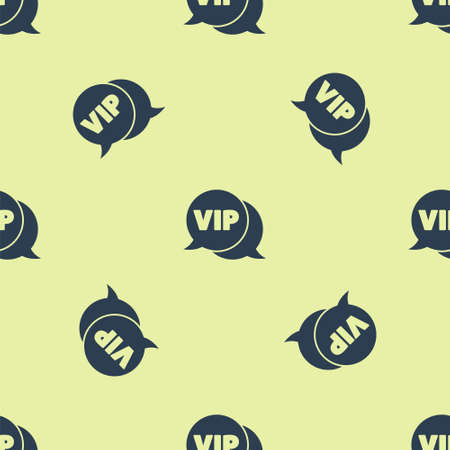Blue Vip in speech bubble icon isolated seamless pattern on yellow background. Vector