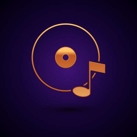 Gold Vinyl disk icon isolated on black background. Vector 일러스트