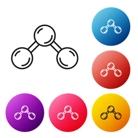 Black line Molecule icon isolated on white background. Structure of molecules in chemistry, science teachers innovative educational poster. Set icons colorful circle buttons. Vector