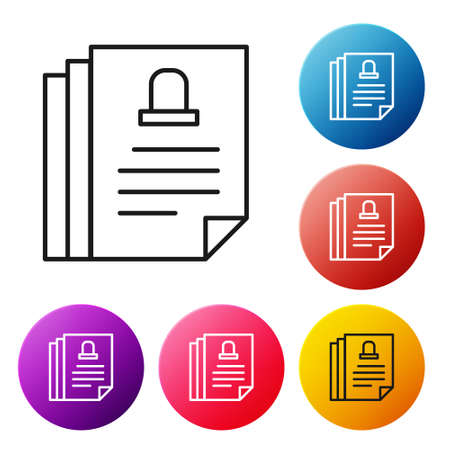 Black line Death certificate icon isolated on white background. Set icons colorful circle buttons. Vector Ilustrace