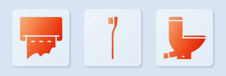 Set Toothbrush, Paper towel dispenser on wall and Toilet bowl. White square button. Vector 向量圖像