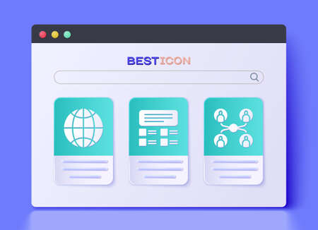 Set Online quiz, test, survey, Social network and Online class icon. Vector