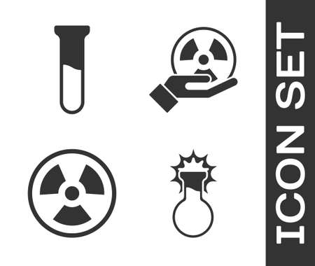 Set Test tube and flask, Test tube and flask, Radioactive and Radioactive icon. Vector