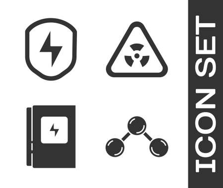 Set Molecule, Secure shield with lightning, Electrical panel and Triangle with radiation icon. Vector