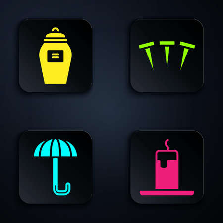 Set Burning candle, Funeral urn, Umbrella and Metallic nails. Black square button. Vector
