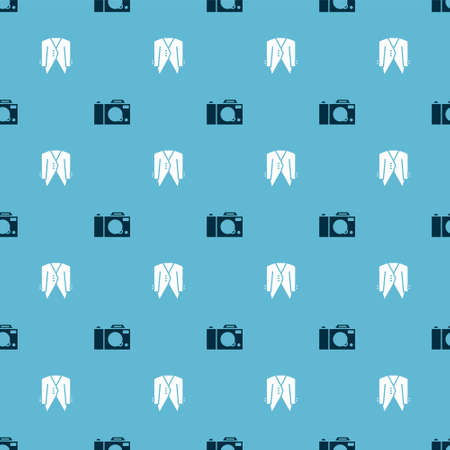 Set Photo camera and Suit on seamless pattern. Vector