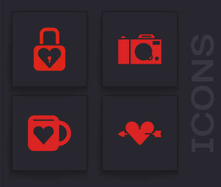 Set Amour with heart and arrow, Lock, Photo camera and Coffee cup icon. Vector