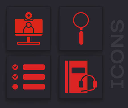 Set Audio book, Video chat conference, Magnifying glass and Task list icon. Vector