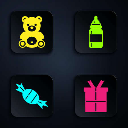 Set Gift box, Teddy bear plush toy, Candy and Baby bottle. Black square button. Vector