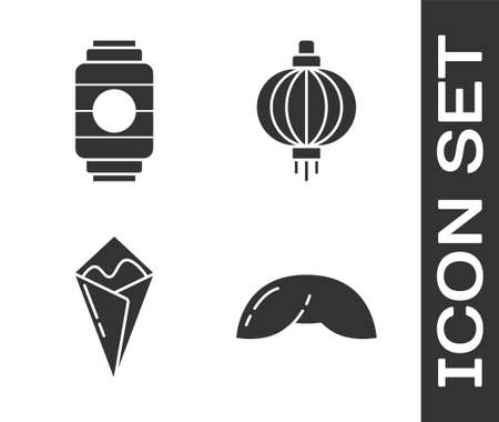 Set Chinese fortune cookie, Japanese paper lantern, Temaki roll and Japanese paper lantern icon. Vector Illustration
