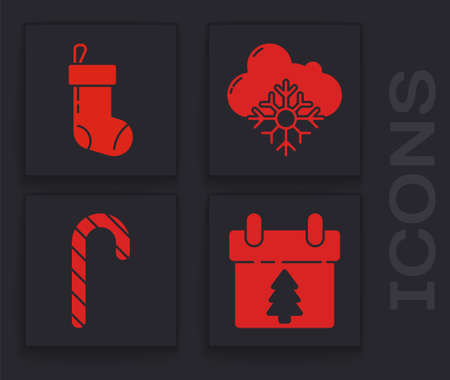 Set Calendar, Christmas stocking, Cloud with snow and Christmas candy cane with stripes icon. Vector