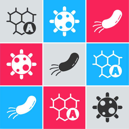 Set Chemical formula, Bacteria and Bacteria icon. Vector