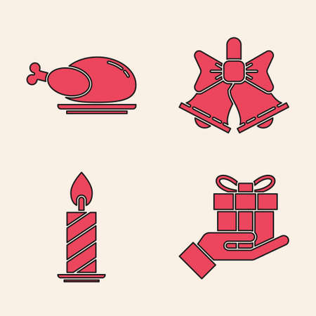 Set Gift box in hand, Roasted turkey or chicken, Merry Christmas ringing bell and Burning candle in candlestick icon. Vector  イラスト・ベクター素材