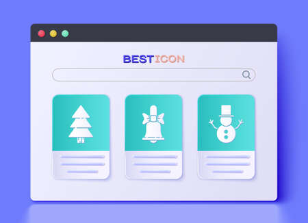 Set Merry Christmas ringing bell, Christmas tree and Christmas snowman icon. Vector