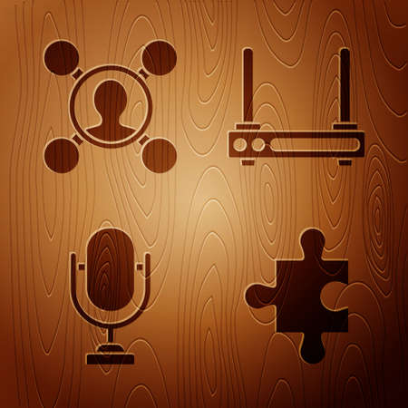 Set Piece of puzzle, Share, Microphone and Router and wifi signal on wooden background. Vector