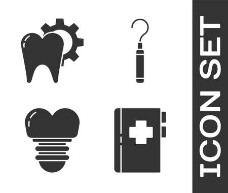 Set Clipboard with dental card, Tooth treatment procedure, Dental implant and Dental explorer scaler for teeth icon. Vector