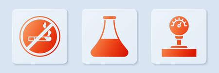 Set Oil petrol test tube, No Smoking and Gauge scale. White square button. Vector Illusztráció