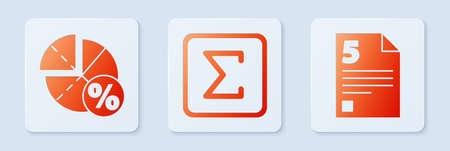 Set Sigma symbol, Graph, schedule, chart, diagram and Test or exam sheet. White square button. Vector 向量圖像