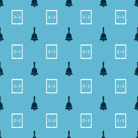 Set Ringing bell and Tablet with calculator on seamless pattern. Vector  イラスト・ベクター素材