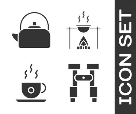 Set Binoculars, Kettle with handle, Coffee cup and Campfire and pot icon. Vector