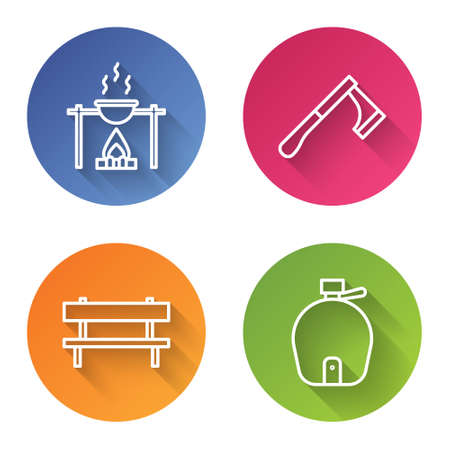 Set line Campfire and pot, Wooden axe, Bench and Canteen water bottle. Color circle button. Vector Illustration