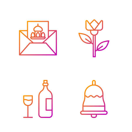 Set line Ringing bell, Wine bottle with glass, Greeting card with Happy Easter and Flower tulip. Gradient color icons. Vector