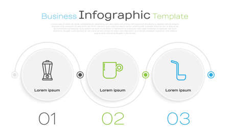 Set line Blender, Coffee cup and Kitchen ladle. Business infographic template. Vector