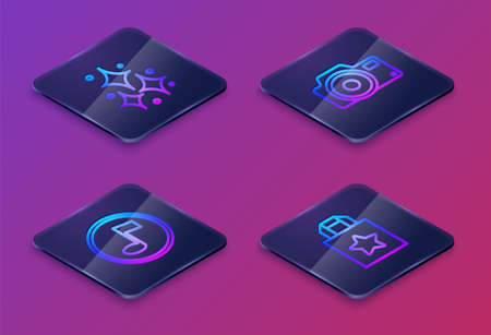 Set Isometric line Firework, Music note, tone, Photo camera and Paper shopping bag. Blue square button. Vector