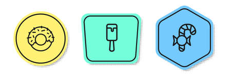 Set line Donut, Ice cream and Christmas candy cane. Colored shapes. Vector Illustration