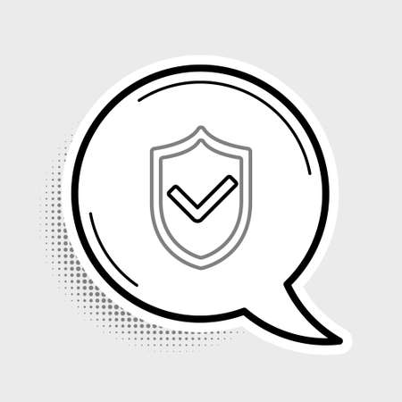 Line Shield with check mark icon isolated on grey background. Protection symbol. Security check Icon. Tick mark approved icon. Colorful outline concept. Vector 向量圖像