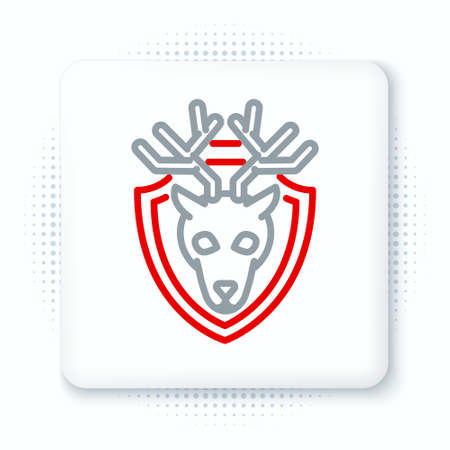 Line Deer head with antlers on shield icon isolated on white background. Hunting trophy on wall. Colorful outline concept. Vector