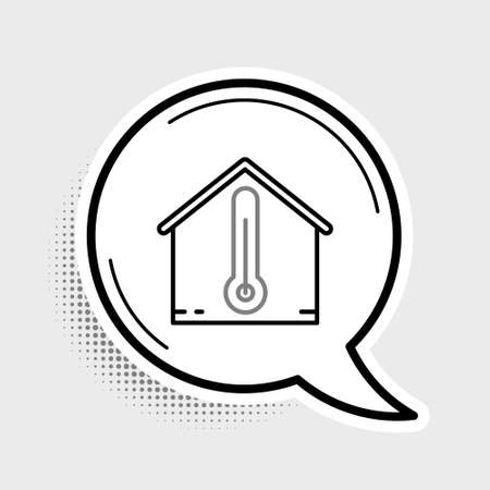 Line House temperature icon isolated on grey background. Thermometer icon. Colorful outline concept. Vector