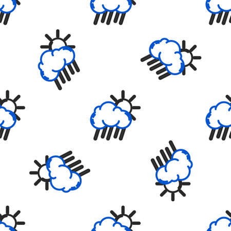 Line Cloud with rain and sun icon isolated seamless pattern on white background. Rain cloud precipitation with rain drops. Colorful outline concept. Vector Vettoriali