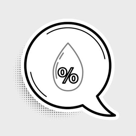 Line Water drop percentage icon isolated on grey background. Humidity analysis. Colorful outline concept. Vector