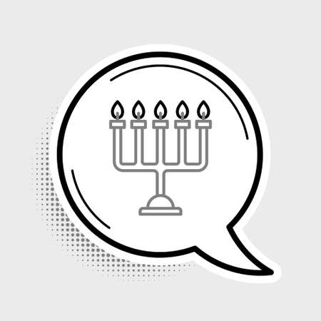 Line Hanukkah menorah icon isolated on grey background. Hanukkah traditional symbol. Holiday religion, jewish festival of Lights. Colorful outline concept. Vector