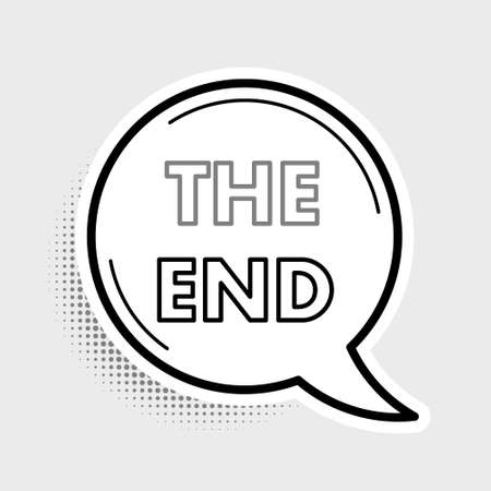 Line The End handwritten inscription icon isolated on grey background. Closing movie frame. Movie ending screen. Colorful outline concept. Vector 向量圖像