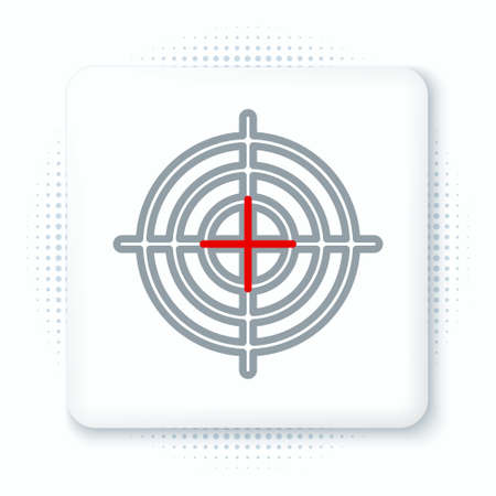 Line Target sport for shooting competition icon isolated on white background. Clean target with numbers for shooting range or shooting. Colorful outline concept. Vector