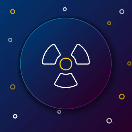 Line Radioactive icon isolated on blue background. Radioactive toxic symbol. Radiation Hazard sign. Colorful outline concept. Vector